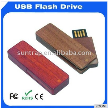 swivel wooden usb disk with customer free logo usb flash drive