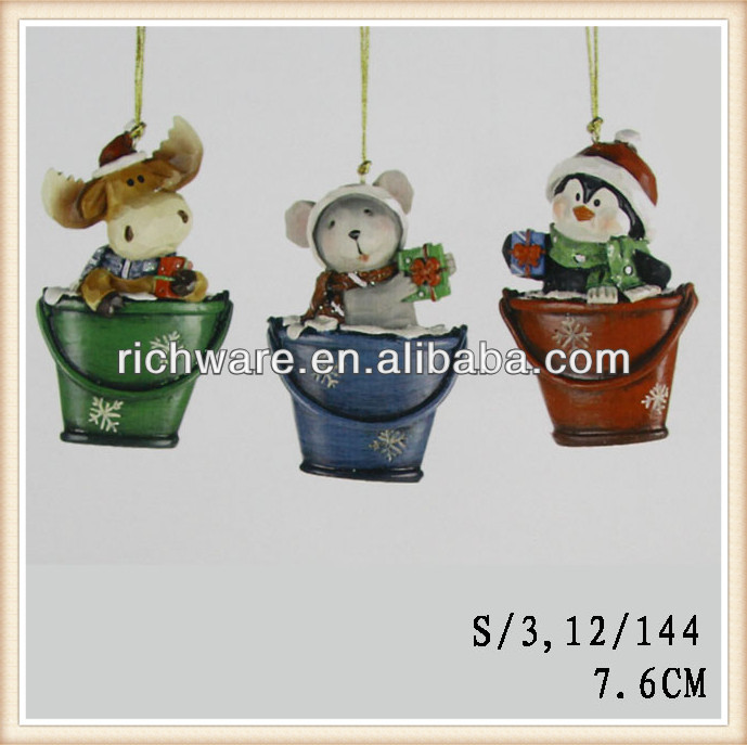 Polyresin hanging penguin/mouse/deer in pail ornament