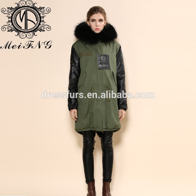 Leather Sleeve Faux Fur Green Parka Coat With Fox Fur Collar For ...