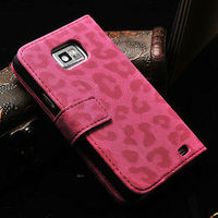Leopard pattern book style leather wallet case for samsung galaxy s2 i9100,hot selling wallet cover for galaxy s2 i9100