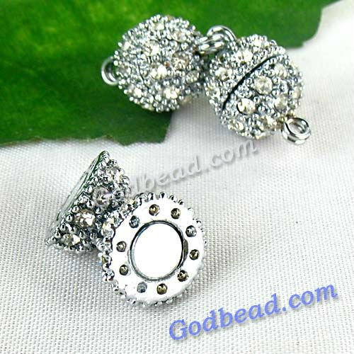 P1(23) fashion DIY Jewelry clasp magnetic hematite clasp findings round bead clasp crystal round ball clasp