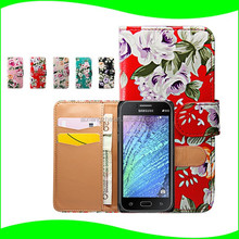 Colorful Printing for Samsung Galaxy J1 Ace Waterproof Bumper Case ,Leather Flower Phone Wallet Case for Samsung Galaxy J1 Ace
