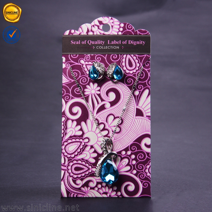 Sinicline custom made necklace and earring display card jewelry