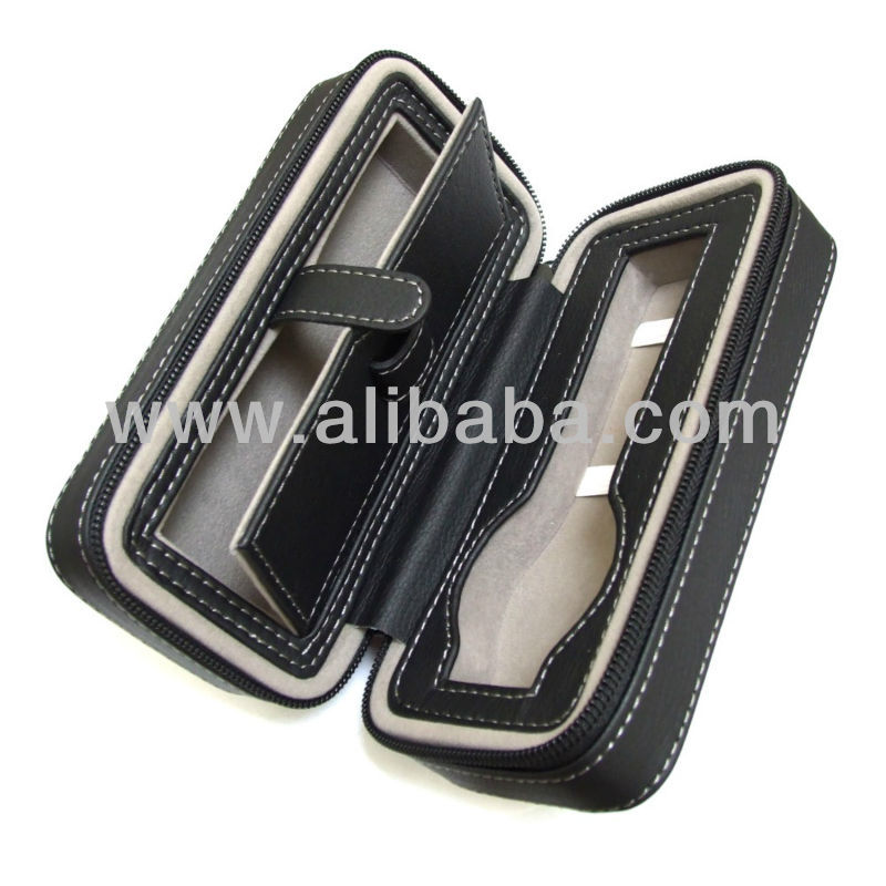 PU Leather Zip-Up Watch Travel Case with Velour Lining
