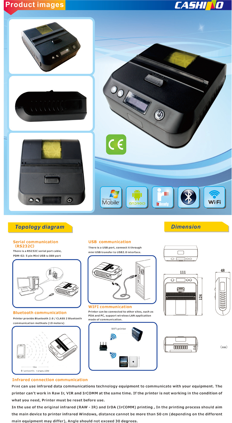 CASHINO 80mm android bluetooth thermal printer pos printer