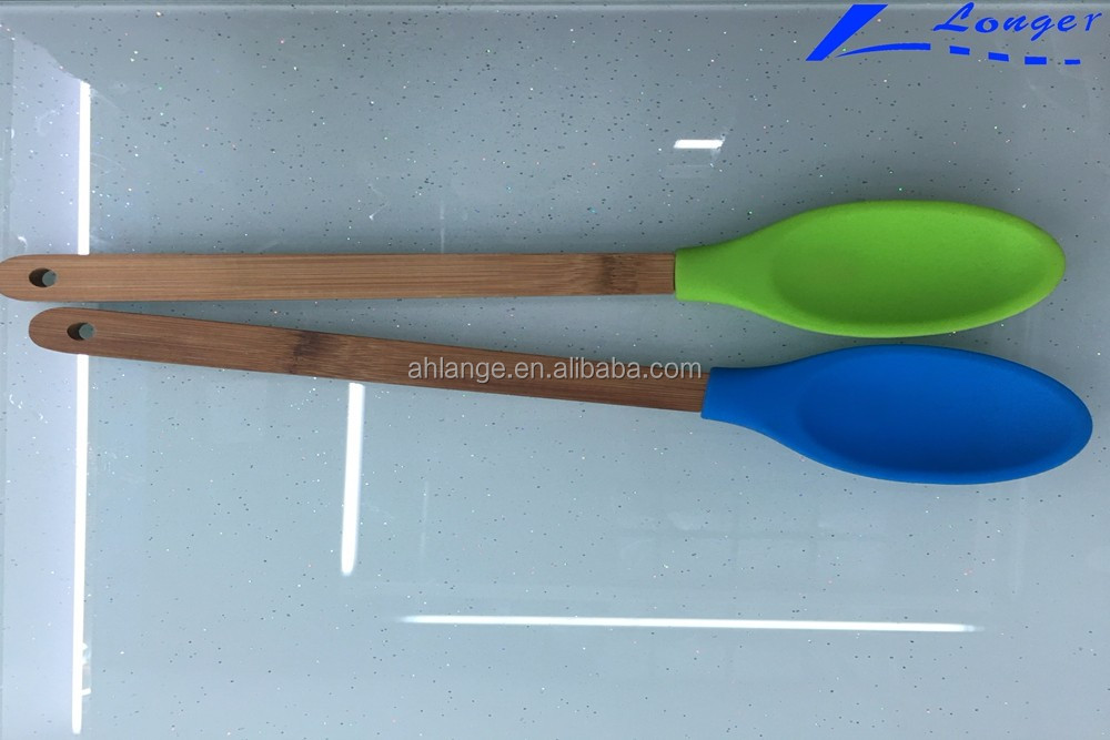 2016 factory wholesale super popular organic baby utensils bamboo wooden food grade silicone spoon or kitchen spoons