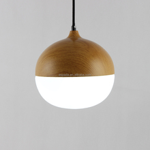 LED white light glass and man made wood pendant lights