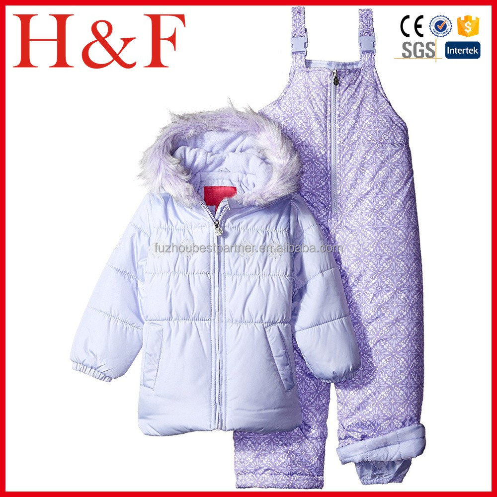 Girls' Snowflake Embroidery 2 Pc Heavyweight Snowsuit