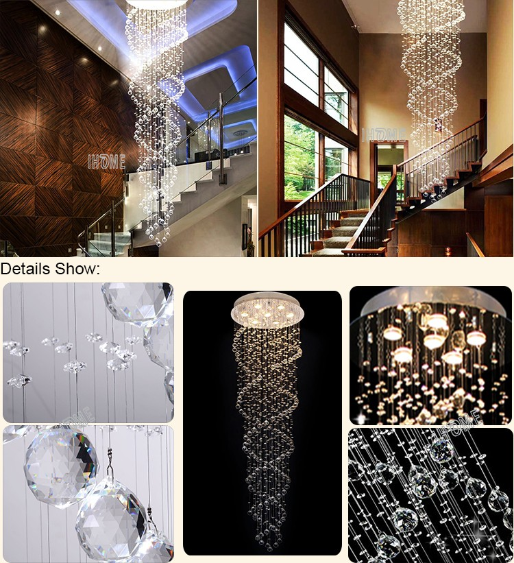 Custom made modern fashion flower stairs hotel lobby double helix raindrop crystal luxury chandelier