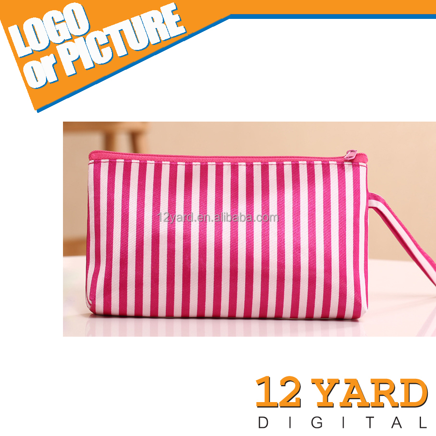 Factory promotion handle recycle stripe make-up bag beauty female purse bag