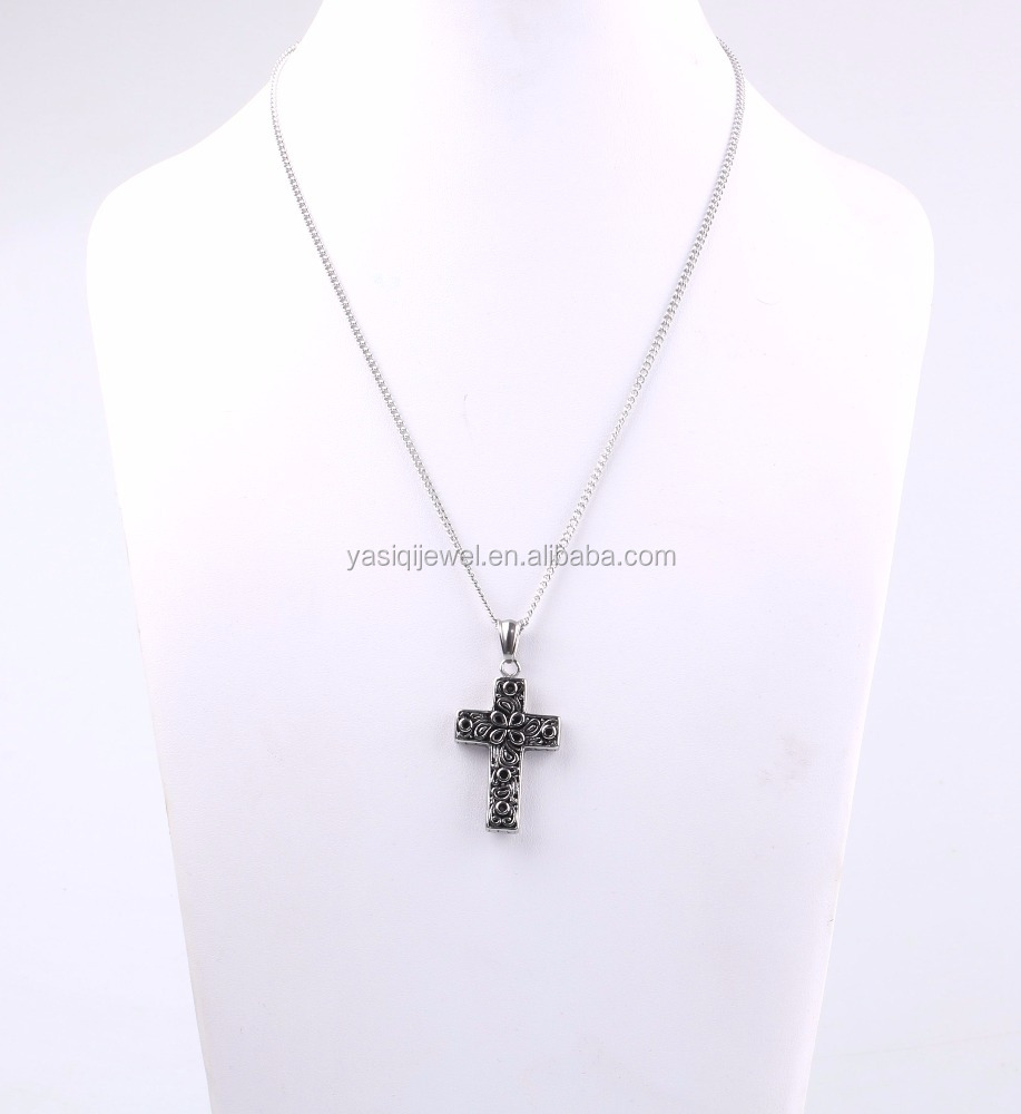 Fashion custom design stainless steel chain black cross men stainless steel necklace