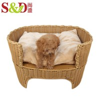 Wholesale Chinese factory handwoven luxury pet sofa with pet dog and cat bed