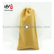 Multifunctional custom linen drawstring button jewelry pouch