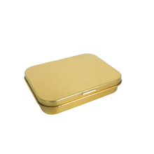 Small rectangular metal chewing gum tin box with gold varnish