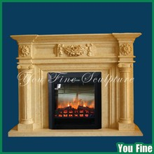 Yellow Natural Marble Italian Stone Fireplaces Mantel