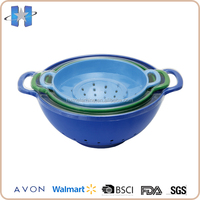 Colorful Melamine Plastic Filter Wash Bowl Set With Handle