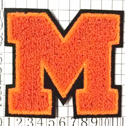 2017 Wholesale Cheap Custom Beautiful Letter M Chenille(towel) Embroidery patch,NO MOQ Embroidered chenille patch