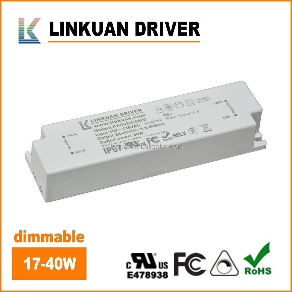 LKAD035D FCC UL listed 24 40V 1000mA 40W IP67 no stroboflash triac dimmable led driver for LED track lights