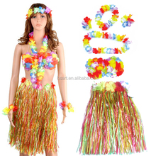 colorful Hawaiian flower leis with hawaii hula skirt and coconut bra
