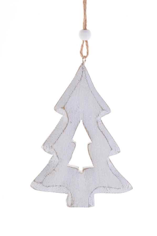 Wholesale wood hollow tree hanging christmas decorations woodn ornaments