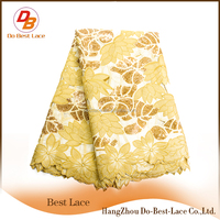 Popular Gold Sequins Lace Swiss Double Organza Flowers Design