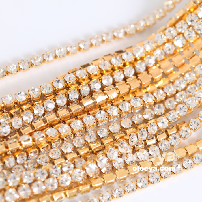 OLeeya Factory Wholesale SS6 2mm Glass Light Siam Sew On Rhinestone Cup Chains Trimmings For Bridal Shoes