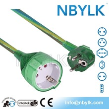 residential power plug + socket extension cord German shuko type GS CE approved YLK-GE-3PB green