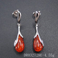 Flower Designs Silver Resin Amber Teardrop Stud Earring For Wedding DR032728E