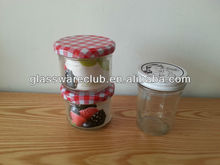 glass container with cap for jam, lemon and lime packing