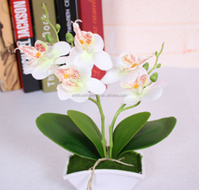 White Artificial phalaenopsis Orchid with pot for home decor