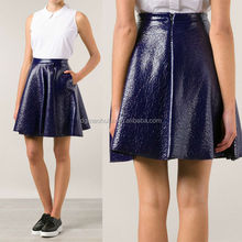 a line shape skater skirt back zipper textured leather gothic skirt