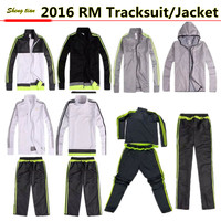 15/16 thai quality RM club soccer tracksuit sets , 2016 soccer jacket football trousers training suit / sportwear
