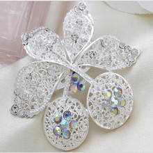 best selling mini shiny crystal for wedding silver plated rhinetone leaf shape brooch