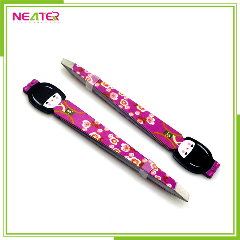 Fashionable girl shape tweezers manufacturer cartoon eyebrow trim tweezers