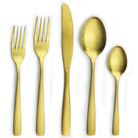 cutlery set gold plated stainless steel flatware set Korean fork and spoon set