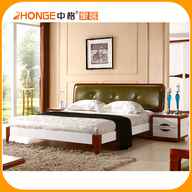 modern bedroom set with leather head