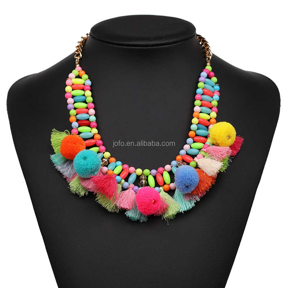 3JJ-007 Accessories For Women Handmade In Vintage Statement Necklace 2017 Charms Rainbow Boho Necklace