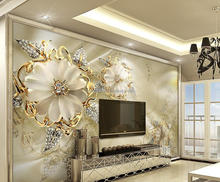 Beautiful hotel hall bar luxury jewelry diamond flower wallpaper 3D mural customize