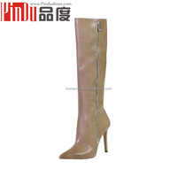 Best genuine leather thigh high boots shoes 2015 nude knee boots shoe spanish brands woman high heels boots for wholesales