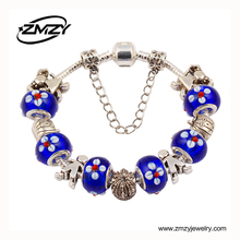 Hot Sell European Silver Charm Bracelet Bangle For Women With Murano Glass Beads Fashion Love DIY Jewelry