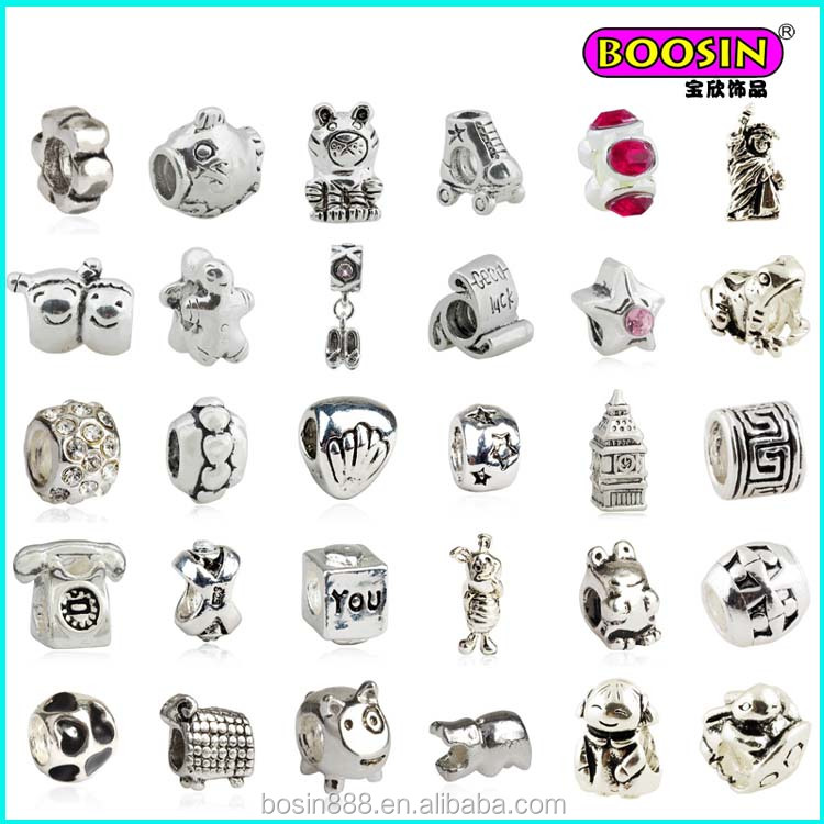 New Christmas wholesale lovely silver slide bead landing bracelet charms for diy jewelry making