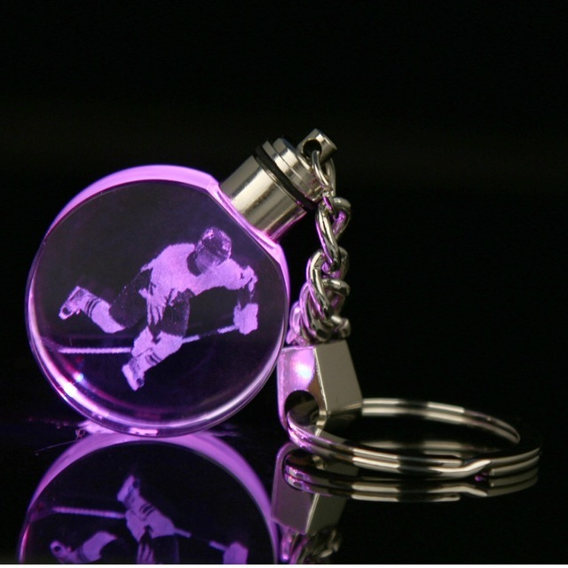 Wholesale promotional led crystal engraved 3d octagonal keychain for sport souvenir gifts