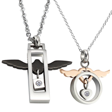 Fashion Jewelry Stainless Steel Angel Wings Couple Lover Pendant Necklace