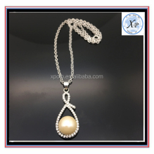Elegant White Pearl Beads Long Women Pendant Crystal Necklace