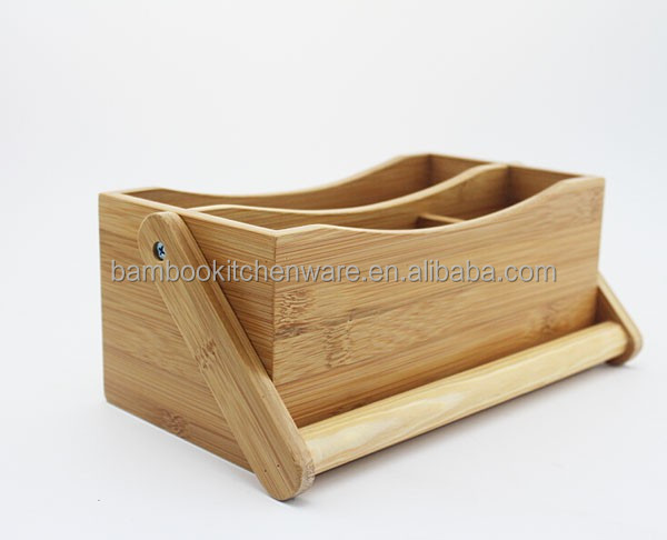 bamboo kitchen tool caddy with hanlde