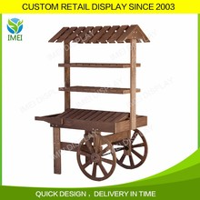 Hot sale decorative mobile wooden wagon display carts