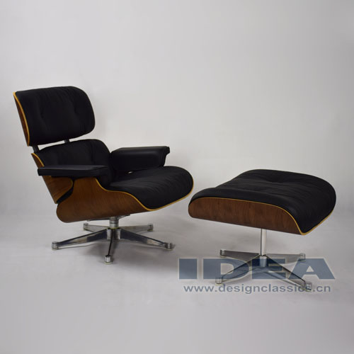 Replica Black Leather Lounge Chair and Ottoman