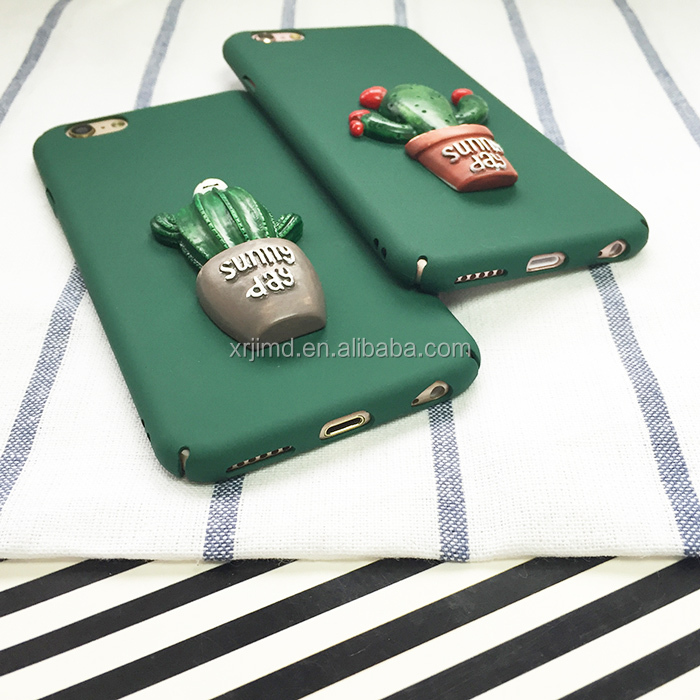All edge, Cute 3D Cactus Pattern Hard PC frosted feeling case for iPhone5/5s/ 6/6/plus/7/7plus/8