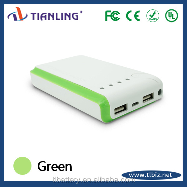 dual usb portable battery charger 10000mah with led flashlight