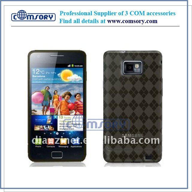 TRANSPARENT CHECKER TPU SKIN CASES case / cover for samsung Galaxy S2 / I9100